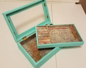 Upcycled Vintage Turquoise Rustic Map Jewelry Box