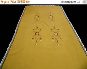 25% SUMMER SALE vintage cotton Table cloth mustard tablecloth floral embroidery embroidered flowers 80s