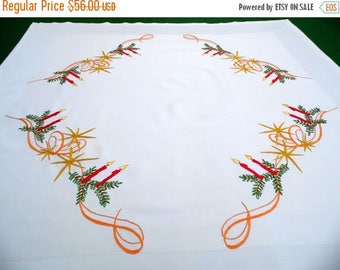 25% SUMMER SALE Our handmade cotton square Christmas tablecloth melting Candles Stars Branches embroidery hand embroidered table cloth AMAZI