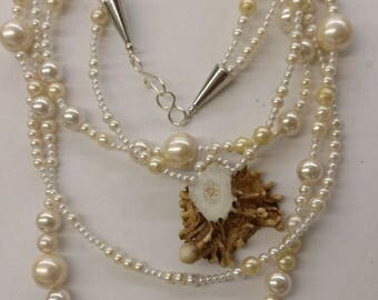 Real Deer Antler and Faux Pearl Necklace
