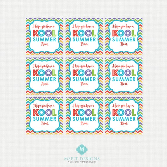 Instant Download Have a Kool Summer Printable Party Tags, School Party Favor Tags, Teacher Treats, Favor Tags, Kool-Aid Party Favors