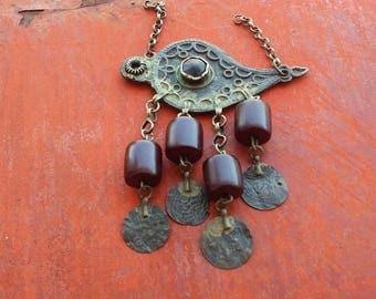 Tribal eye amulet, evil eye amulet, ethnic jewelry, eye dangling pendant, silver & red, boho pendant, antique silver pendant, large pendant