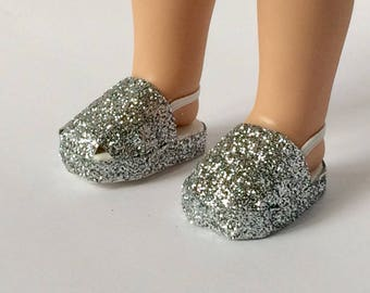 Doll shoes. Wellie wisher doll shoes. Gray glitter sparkle shoes. S.O. Designs