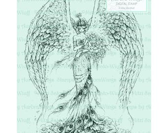 Digital Stamp - Instant Download - Peacock Queen 2 - Glamorous Fairy with Peonies - Fantasy Line Art Digi for Arts and Crafts - AuroraWings