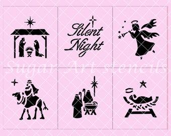 Christmas Holiday Nativity Silent night stencils set of 6 SL20180