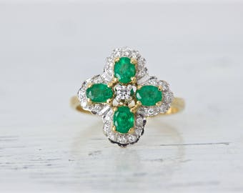 Vintage Emerald Ring | Unique Engagement Ring | Clover Ring | 18k Yellow Gold Diamond Halo Ring | May Birthstone Gemstone Ring | Size 5.5