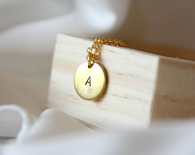 Initial necklace personalized disk tag Handstamped necklace Engraved jewelry