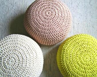 Blush Pink Pouf-Foot Stool Pouf Ottoman-Nursery Ottoman-Floor Cushion-Blush Nursery Decor-Crochet Round Floor Pouf-Floor Pillow-Knit Pouffe