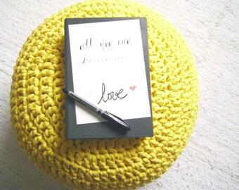 Yellow Ottoman Pouf-Knit Floor Pillow Pouf- Nursery Footstool-Nursery Decor-Kids Pouffe Bean Bag Chair-Crochet Floor Cushions-Furniture Pouf