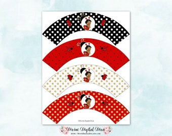 Cupcake Wrappers Ladybug Red Black White Gold | African American Skin Tone Vintage Baby Girl | Digital Instant Download