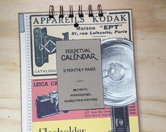 vintage inspired perpetual calendar. birthday calendar. anniversary calendar. vintage camera.