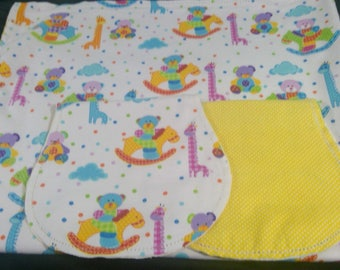 Giraffes, bears with yellow polka dot Backing Hemstitched Baby Blanket and Burps ready for you to crochet by Lindas Hemstitching