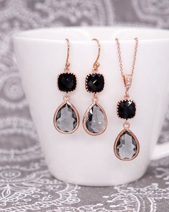 Grey teardrop Jet Black cushion Rose Gold Earrings| Brides Bridesmaid Blush Jewelry Wedding Something Blue | Gifts for her bff wife mom E297