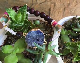 Valentine's Day Druzy Stone Stretch Bracelet