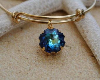 Jellyfish bracelet // jellyfish charm // Swarovski Bermuda Blue crystal // Swarovski jellyfish //  Bridesmaid gift // bridal jewelry