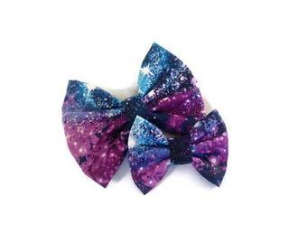 Galaxy Bow | Space Bow | Handmade Fabric Hair Clip | Headband Bows