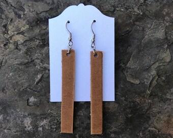 Tan Bar Leather Earrings