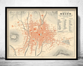 Old Map of Quito Ecuador 1888 Equator Republic