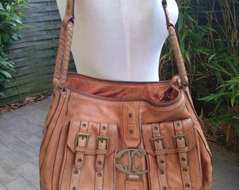 Original vintage Authentic  Large handbag JUST CAVALLI leather shoulder bag Collection luxury large bag light brown leather bronze button JC