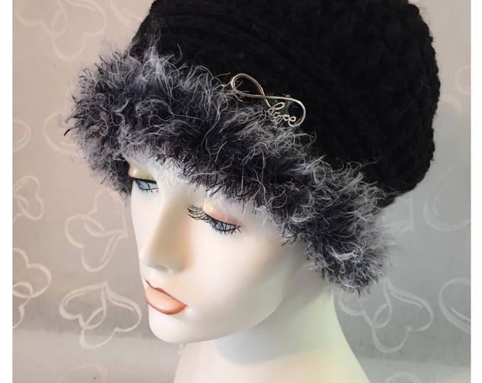 Cloche Crocheted Hat-Women's 1920's Cap- Winter Hat-Black Fur Hat-Fall Hats-