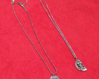 Lot Of Assorted Pendant  Chain Necklaces Friends Flower Peace Sign