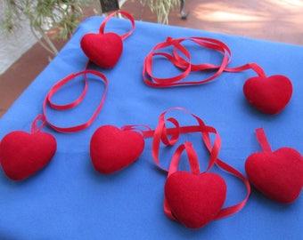 Lot Of Red Heart Ribbon Ornaments Decorations TLC