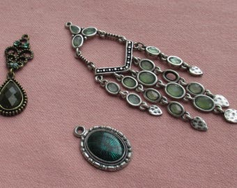 Lot Of Vintage Green Salvaged Dangling Pendants
