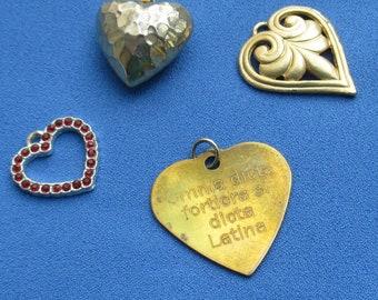 Lot Of Salvaged Heart Pendants