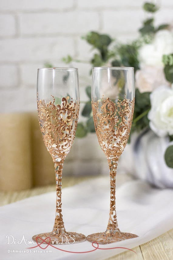 Personalized Gifts For Weddings: Personalized Wedding Glasses Rose Gold Wedding Gift Champagne