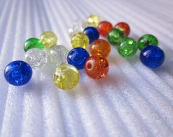 20 round beads 6 mm cracked glasses.