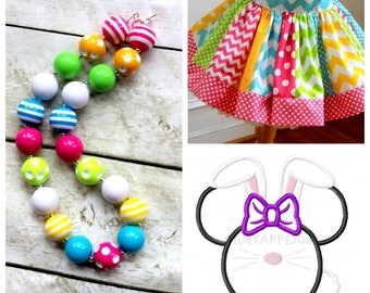 Disney Easter Minnie outfit Minnie Mouse Easter Bunny skirt set with matching necklace Minnie shirt Disney size 2t 3t 4t 5 6 8 10 12 girls