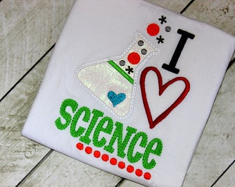 Girls Science shirt I love science shirt for girls Shirt with beaker and science Science Birthday shirt for girls size 2t 3t 4t 5 6 8 10 12