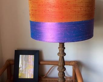 Handmade pure silk lampshade orange&purple