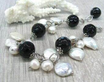 Coin pearl bracelet Black white gemstone bracelet natural freshwater pearl jewelry black onyx chain bracelet for women white baroque pearls