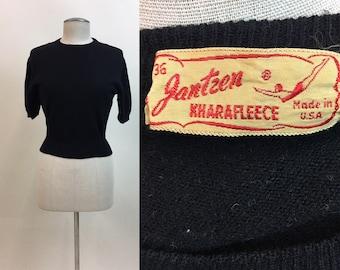 Vintage Black Babydoll Sweater / 1940s Jantzen Pullover Sweater / 40s Womens Sportswear