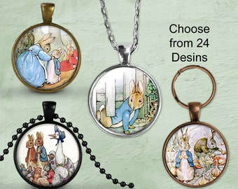 Peter Rabbit Necklace Peter Rabbit Pendant Necklace or Peter Rabbit Keyring FOB Peter Rabbit Jewelry Beatrix Potter Pendant Necklace Jewelry