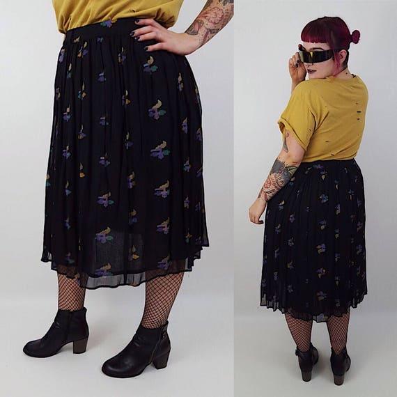80's Black Abstract Pattern High Waist Maxi Skirt Large/XLarge - Sheer Long Black Blue Purple Skirt With Belt - Womens Vintage Flowy Skirt