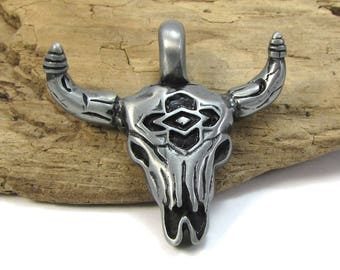 Bull Skull Pendant  41x41mm Single-Sided Bull Skull Pendant, Skull Pendant, Jewelry Supplies, Item 253p