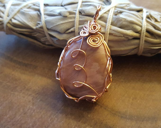 Pink Mookite (mookaite, radiolite) copper wire wrapped pendant, Reiki infused approx 1.6x1 inches (WW33)