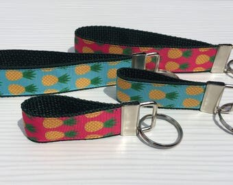 Pineapple Keychain Fob Gifts for Her - Pineapple Key Fob Wristlet - Choice of Size & Color - Summer Pineapples Keychain Wristlet Key Fob