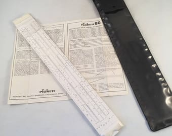 Vintage Pickett 80 Slide Ruler with Storage Pouch and Instructions on Usage, Vintage Collectible Slide Ruler