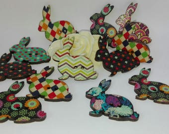 Set of 12 Bunny buttons, wood 31 * 28mm