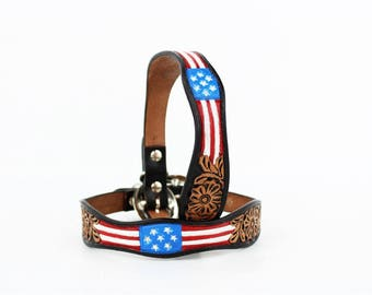MadcoW Western Style Fully Tooled Red White & Blue USA American Flag Canine Leather Dog Collar Hand Made Fully Adjustable