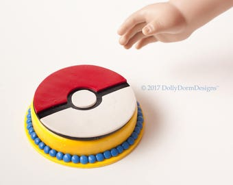 American Boy Doll or Girl Doll House Food Accessories - POKEMON GO POKEBALL Cake for 18 inch Doll Birthday Party, Bakery, Bake Shop, Kitchen
