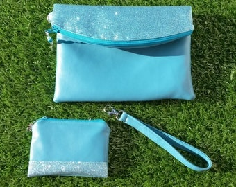 Turquoise Evening Bag, Clutch Bag, Bag and Purse Set, Blue Clutch Bag, Glitter Clutch Bag, Faux Leather Bag, Prom Bag, Wrist Strap, Swoon