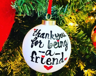 Ceramic- handpainted- golden girls ornament- thank you for being a friend -  stocking stuffer- Gifts for Golden Girls Fans- Christmas gift