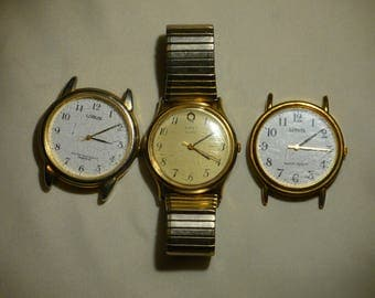 Job Lot Vintage Mens Watches 2 Lorus Working & Timex Spiegel for Spares Repairs