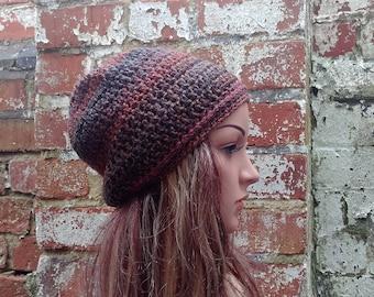 Colorful crochet beanie , Women's  beanie hat .Brown beanie . Slouch beanie . Crochet hat .