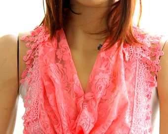 salmon lace scarf -  Summer lace scarf -  Lace scarf -  Woman scarf - scarves  - floral scarf - salmon headband - salmon scarves - scarf