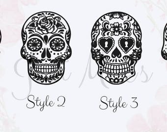 Sugar Skull Decal - Car Decal - Dia De Los Muertos Decal - Monogram Sugar Skull Decal